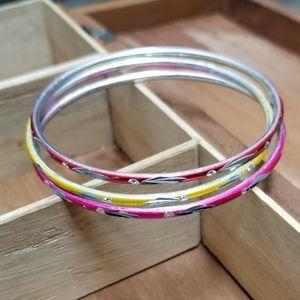 3 Stunning Silver Matellic Bangle womans bracelets